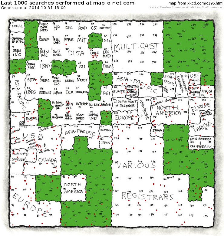 Latest searches at map-o-net.com - based on xkcd.com/c195.html